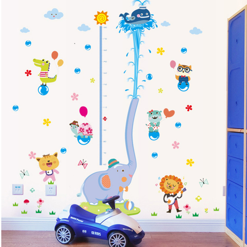New Cute Elephant Stack Height Measure Wall Stickers Decal Kids Adhesive Vinyl Wallpaper Mural Baby Kids Nursery Room Decor(China (Mainland))