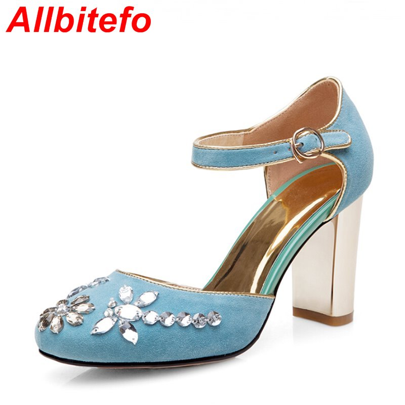 fashion classical sheepskin round toe sweet Rhinestone design wedding shoes woman 2016 new spring thick heels women pumps