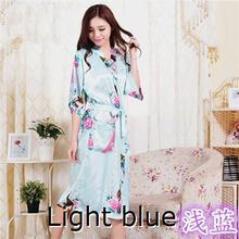 RB015 Satin Robes for Brides Wedding Robe Sleepwear Silk Pijama Casual Bathrobe Animal Rayon Long Nightgown Women Kimono XXXL(China (Mainland))