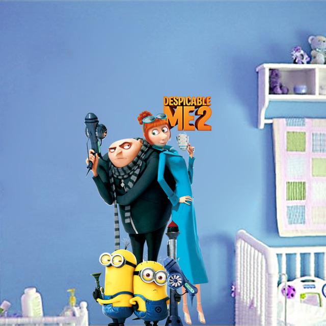 Миньоны гадкий я 2 мультфильм рождество наклейки спальня украшение пвх на стены дети номера декор ZY1409