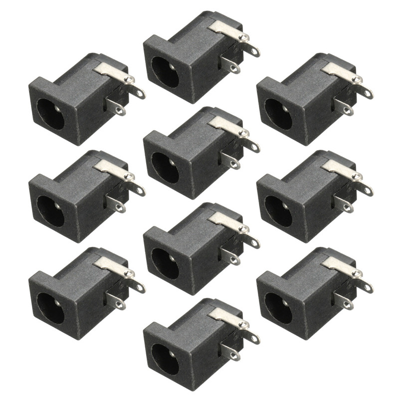 10Pcs 5.5 x 2.1mm DC Power Supply Female Jack Socket 3 Legs PCB Mount Black Charging Power Connector Plug(China (Mainland))