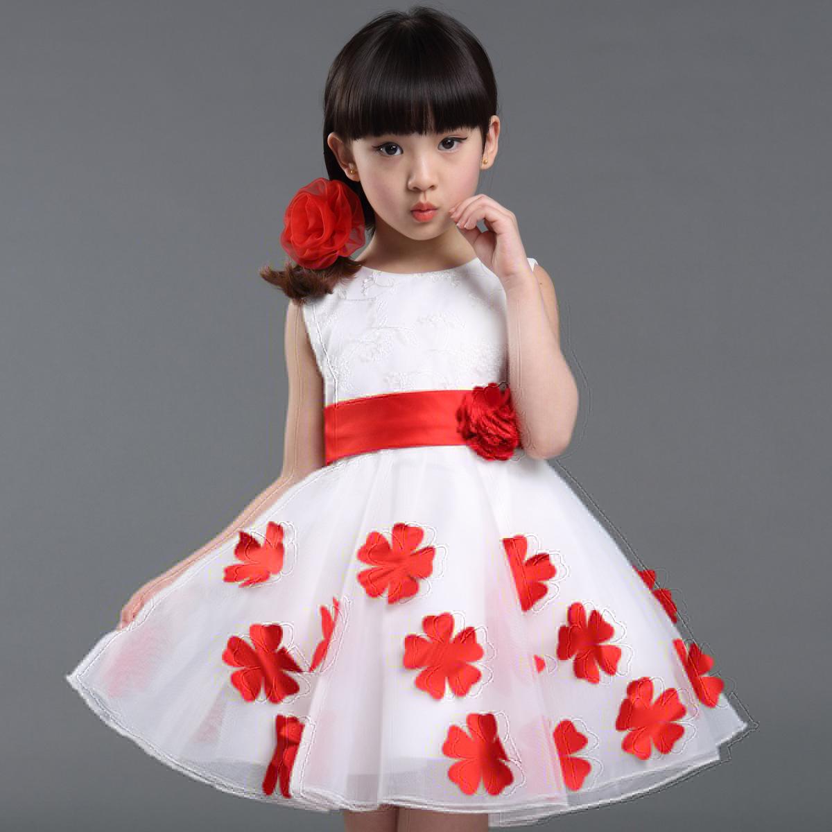 Roupas Infantis Menina 2016 New Fashion Summer Red Girl Dress Sleeveless Chiffon Flower Tutu Layered Princess Bow Kids Dresses(China (Mainland))