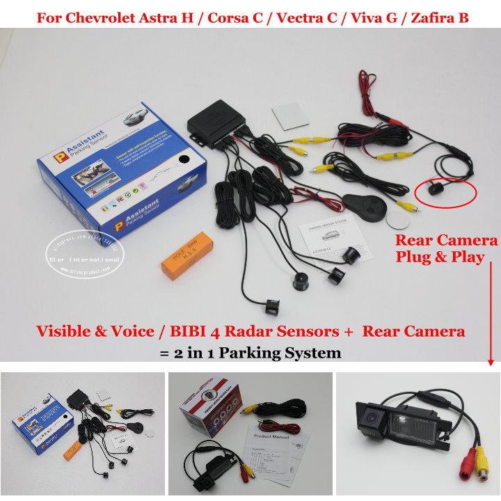 Car Parking Sensors + Rear View Back Up Camera = 2 in 1 Visual / BIBI Alarm Parking System For Chevrolet Vectra C / Zafira B