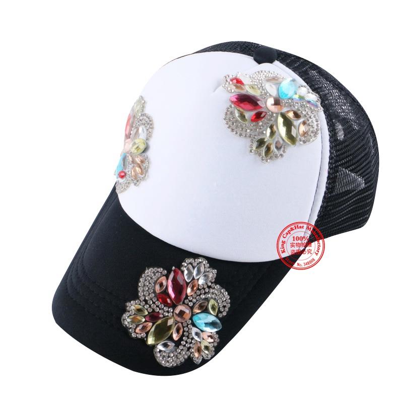 new design beauty floral summer baby baseball cap girl women 54CM size mesh rhinestone brand snapback children gorras hats(China (Mainland))