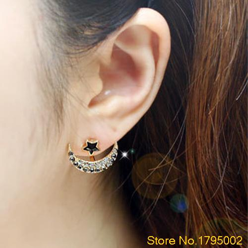 Women's Moon Pentacle Star Crystal Rhinestone Huggie Dangle Party Stud Earrings Daily Use Free shipping 4UN9(China (Mainland))