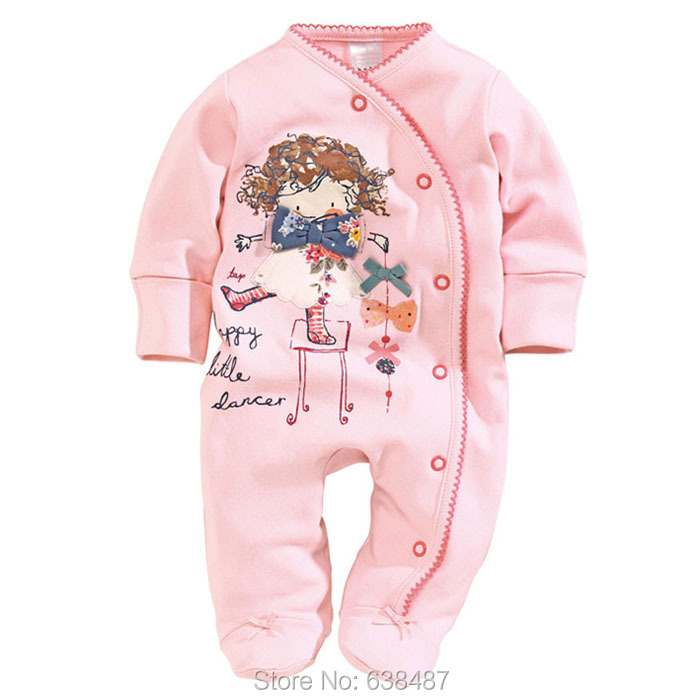 3M~12M New 2015 Brand Quality 100% Combed Cotton Ropa Bebe Newborn Baby Girl Clothing Clothes Long Sleeve Rompers Creepers Girls - JK Kids Shop store