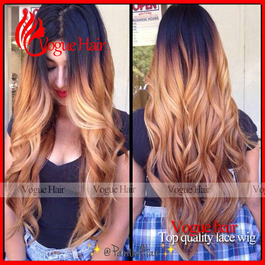 cheap price hot selling long two tone color wavy synthetic lace front wig ombre lace front wig for black woman.<br><br>Aliexpress