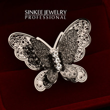 Fashion Big Black Butterfly Finger Rings For Women Adjustable Size High Quality 2016 New Jz217 Free Shipping(China (Mainland))