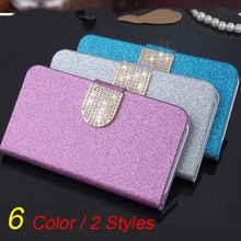 Luxury Shiny Glitter Wallet Stand Flip PU leather case ZTE Red Bull V5 Cover Card slot - Shenzhen International Trade Centre store