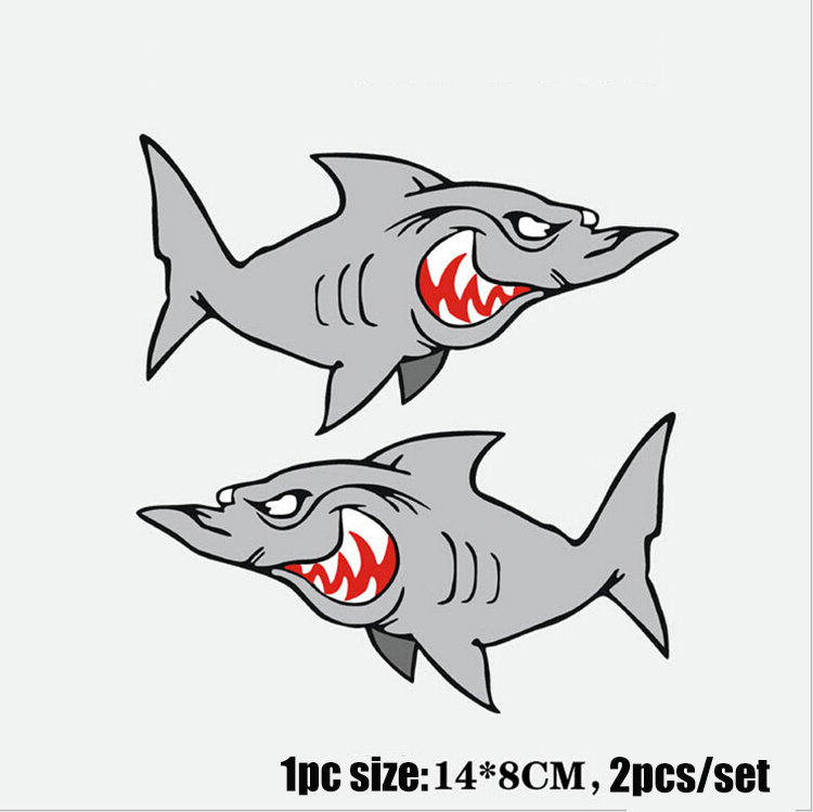 New Arrival Shark Cartoon Stickers Cute Car Sticker Funny 2pcs/set Can Be Attached To The Any Car Body Or Motorcycle(China (Mainland))