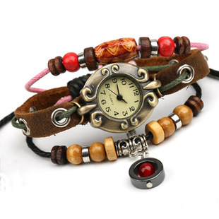 casual sporty style men & women narrow red bead bracelet watch casual type genuine leather adjustable rope chain bangle bracelet(China (Mainland))