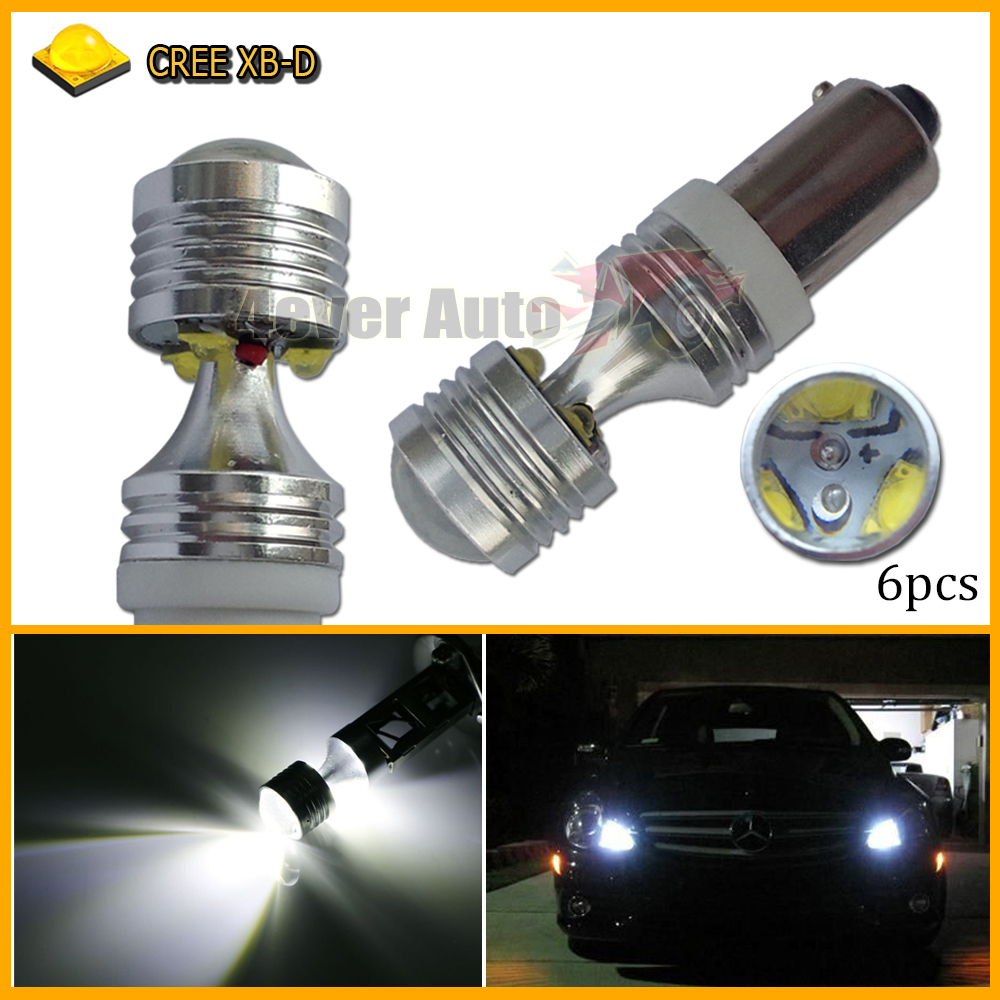 6pcs H21W BAY9s 120 degress 6 x 5W High Power CREE LED Lens Bulbs for Backup or Parking Lights, Base: h21w, bay9s(China (Mainland))