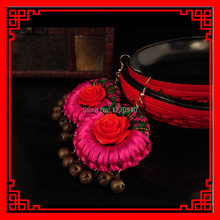 handmade braided chinese jewelry women ethnic earrings, fashion traditional fabric vintage dangle flowers earrings(China (Mainland))