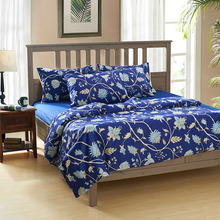 Cozzy Blue Sofia Flowers Floral Egyptain Cotton Bedding Set (Reversible Duvet Cover + Flat Sheet + Pillowcases) Queen King Size(China (Mainland))