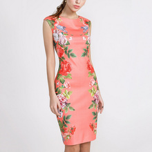 Buy Summer Dress New Arrival Real Dress 2016 Floral Rose Print Design High Waist Bodycon Chinese Style O Neck Sleeveless Party 029 for $15.35 in AliExpress store