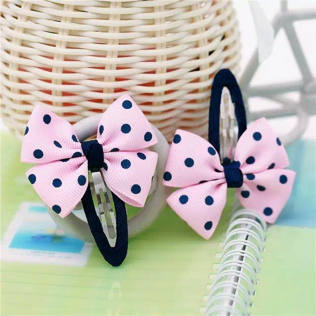 navy blue dot children kids baby girls hair accessories clip hairpins barrettes headwear bow Retail Boutique wholesale JB-27(China (Mainland))