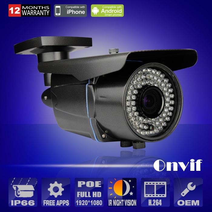 1080P IP Camera POE Varifocal 2.8-12mm Onvif HD Sony Sensor 25fps H.264 78 IR Outdoor Network Video Security CCTV Camera(China (Mainland))