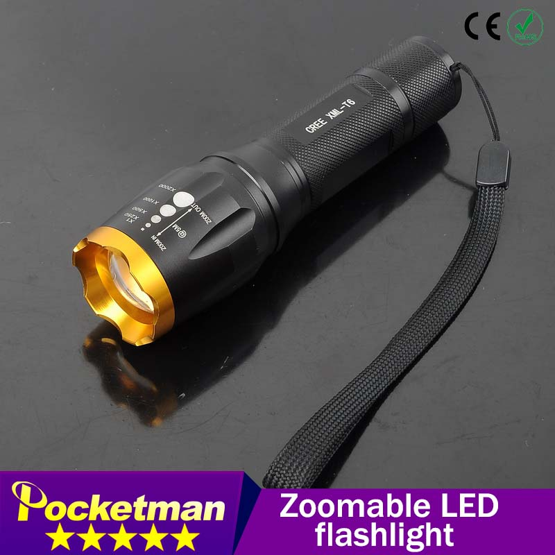 LED Flashlight 2000 Lumens CREE XML T6 Zoomable Lantern LED Torch Water resistant 5 modes for hiking fishing camping ZK93(China (Mainland))