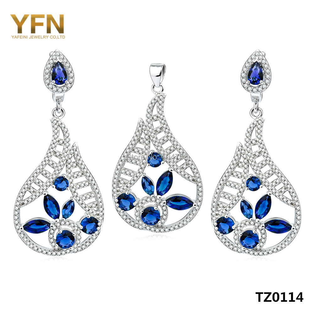 TZ0114 Bridal Jewelry Sets 925 Sterling Silver micro pave Blue Zircon Drop Earrings & Pendant Set