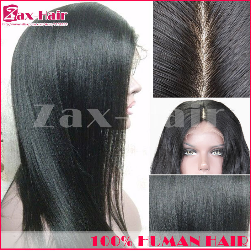 130 dentiy silk base full lace wigs Yaki straight silk top lace front wig silk top hair extension wig human hair stocked 6A sale(China (Mainland))