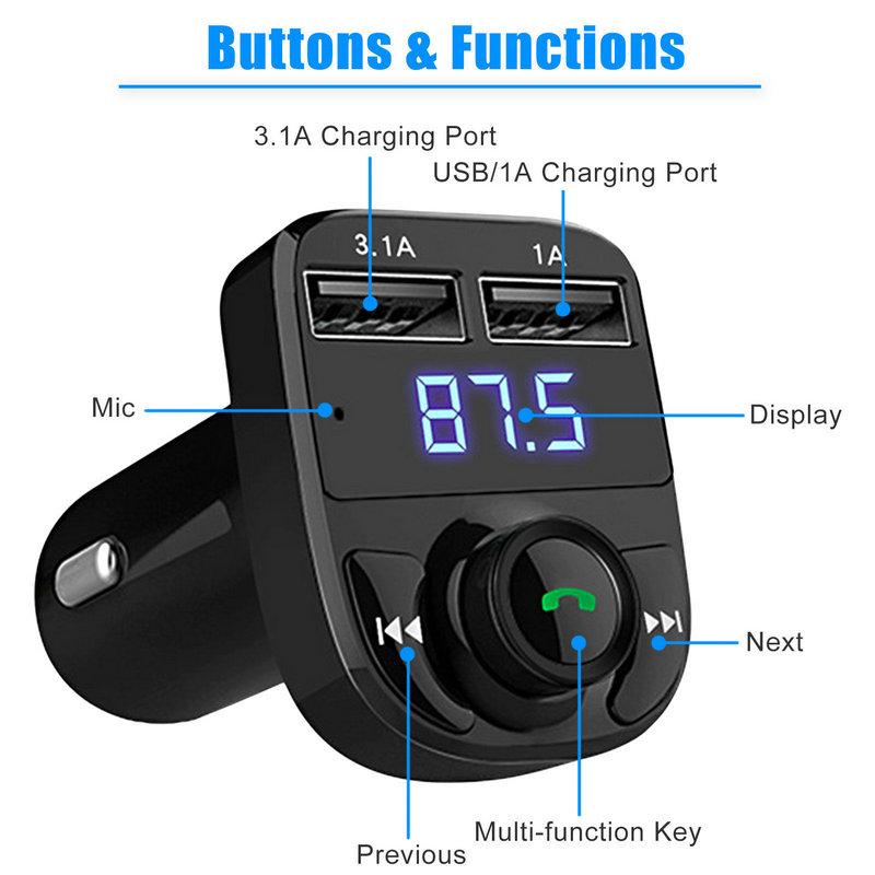 Dual USB Car Charger Bluetooth Car Kit (18)