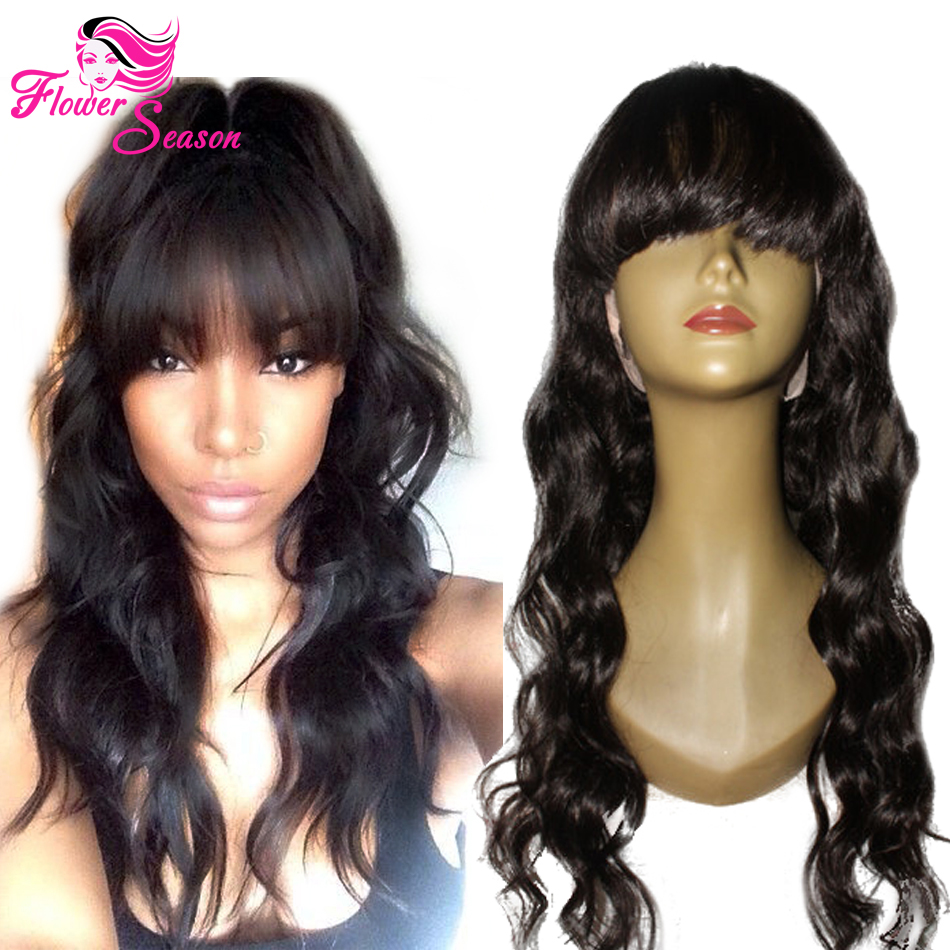 150Density Flower Season Virgin Brazilian Full Lace Human Hair Wigs With Bangs For Women Glueless Lace Front Wig Human Hair Wigs(China (Mainland))