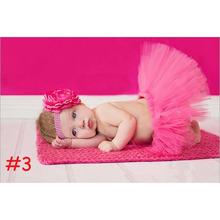 2015 NEW 7 Colors Newborn Tutu Skirt With Matching Flower Headband Newborn Photo Props Baby tutu Girl Fluffy Pettiskirt(China (Mainland))