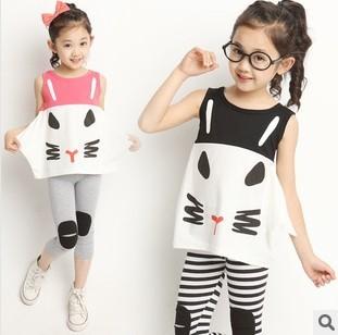 2015 Hot и новый летний корейский детская одежда девочек спортивный костюм кошка ...