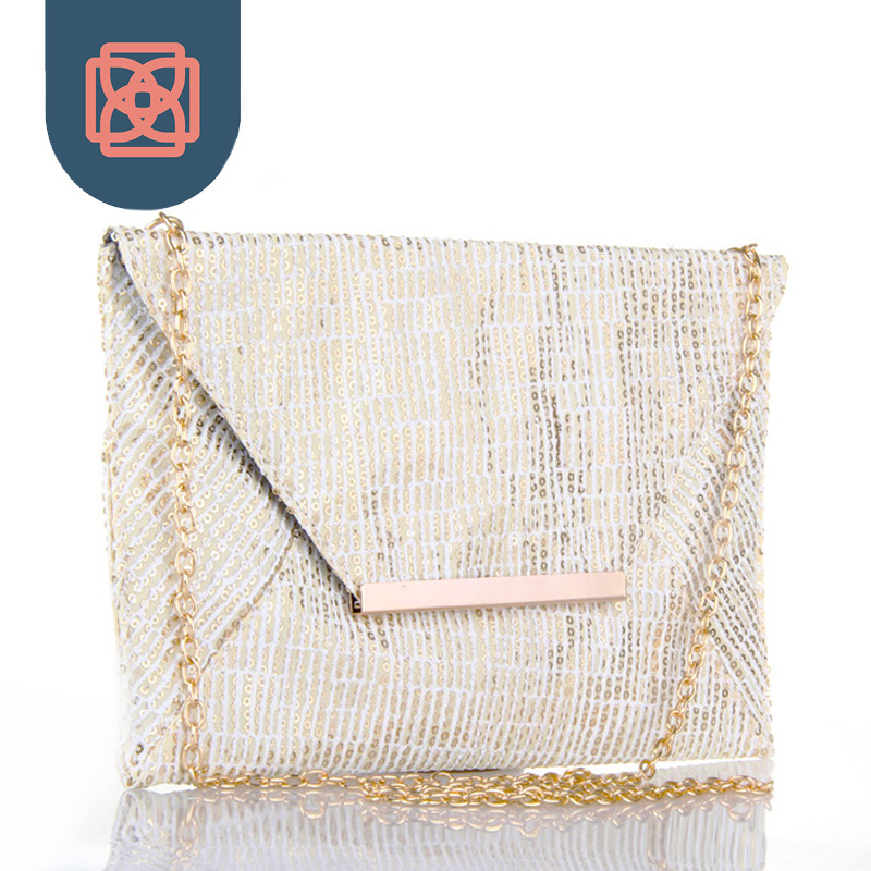 Ivory Envelope Purse Gold Sequin Shoulder Bag 18K Gold Color Chain Pretty Purse Chic Club Clutch Handbag Night Out Bag(China (Mainland))