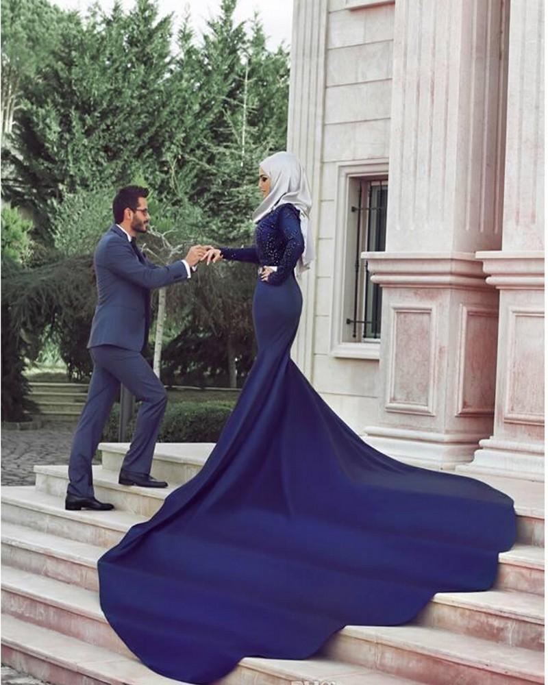 2016 Royal Blue Muslim Wedding Dress High Neck Long Sleeve Vestido De Noiva L