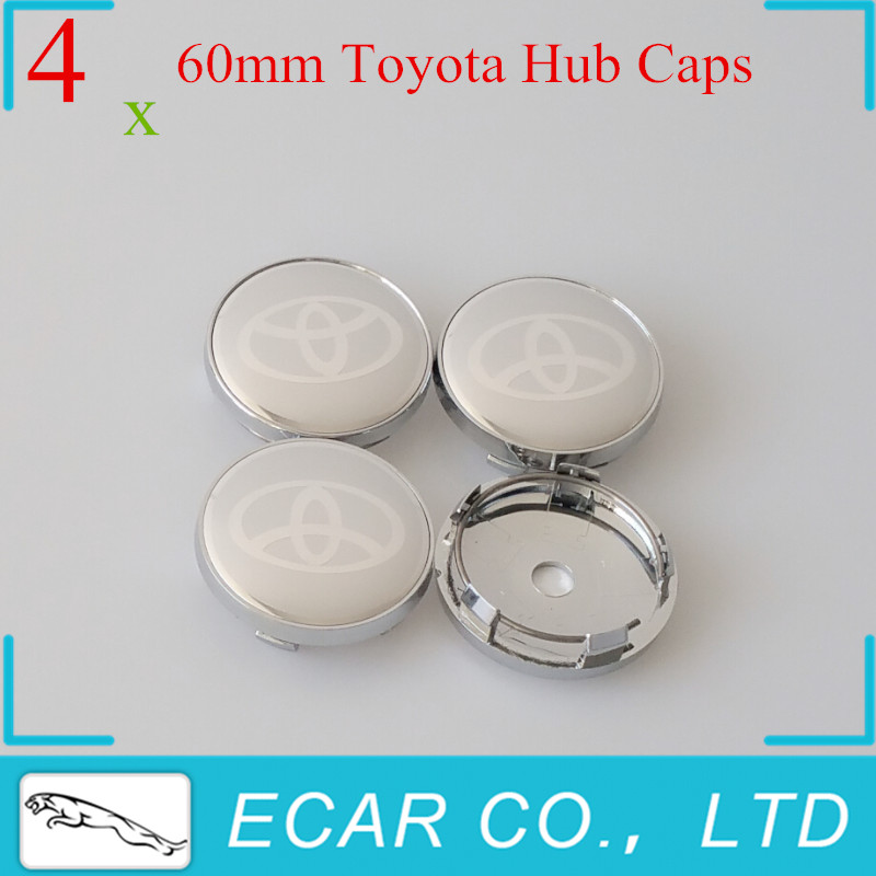 Car Tuning 4 x 60mm TOYOTA Silver Wheel Center Cap Wheel Decal Sticker Emblem Badge Hub Caps For Toyota Auto Accessories(China (Mainland))