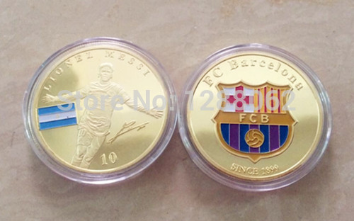 [Mix] souvenir coins Football Player Ronaldo and Barcelona Messi gold plated collect gift Famous Soccor People coin 10pcs/lot(China (Mainland))