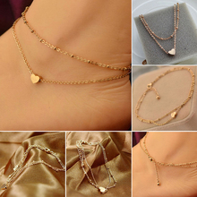 1PC Sexy Gold Tone Love Heart Ankle Bracelet Double Layer Chain Foot Anklet HOT