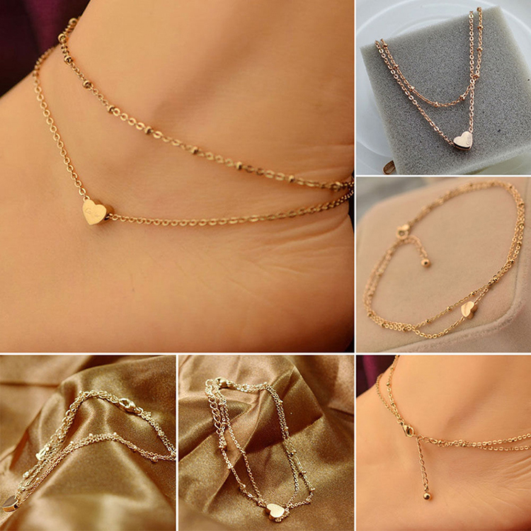 1PC Sexy Gold Tone Love Heart Ankle Bracelet Double Layer Chain Foot Anklet HOT(China (Mainland))