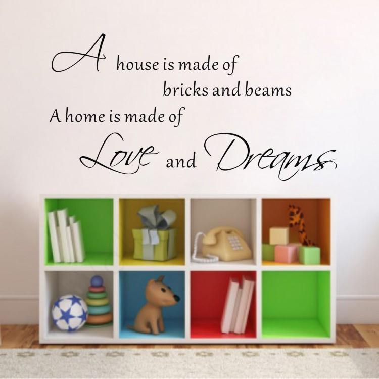 une maison est faite de briques citations famille stickers muraux art pour chambre enfants noir. Black Bedroom Furniture Sets. Home Design Ideas
