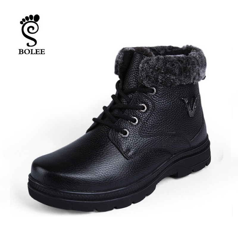 Super warm 100% leather men boots Winter boots Waterproof snow boots Warm Plush Fur Boots<br><br>Aliexpress