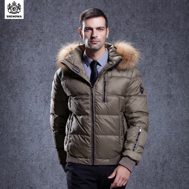 SHENOWA New jacket winter parka duck fur coat mens puffer Business Thicken Gold men's clothing - Store store