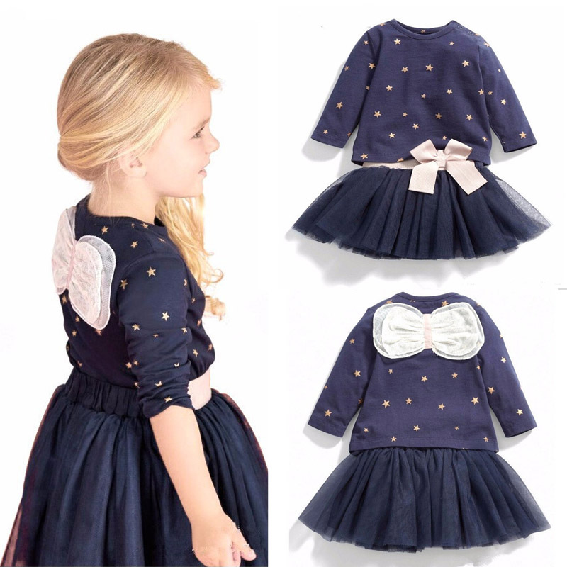 Baby Clothing Sets Long Sleeved Bow Girls Cotton Tops T-shirt+TuTu Lace Skirt Children's Skirt Suit Kids Clothes 2016 Autumn V49(China (Mainland))