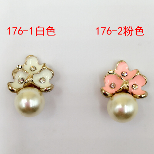 Pearl with Rhinestone button pink white enamel finding component DIY metal alloy jewelry making accessories hair flowers button()