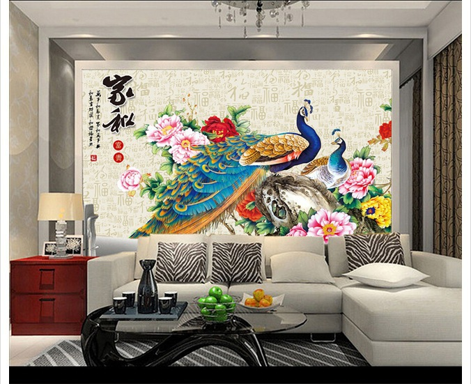 Large seamless stereoscopic 3D wallpaper sofa TV background wallpaper decorative painter and peacock mural Specials(China (Mainland))