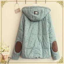 Pentagram Print detachable cap Coat women Zipper Hooded jacket winter Fashion Slim woman cotton clothes Add