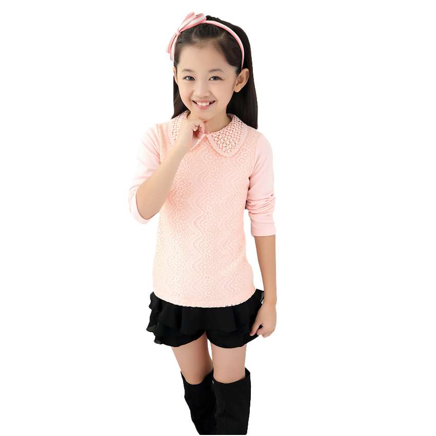 Baby Girls Shirts Long Sleeve Children Clothing Peter Pan Collar Lace Patchwork Girl Blouses Fashion Style Girls Clothes 2-10Y(China (Mainland))