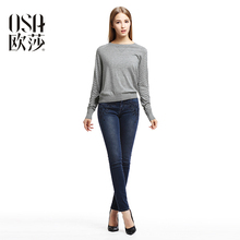OSA 2015 Winter Cashmere Solid pullovers Autumn women damen sweaters Fashion Brief long Sleeve O-neck top knit femme SH429032(China (Mainland))