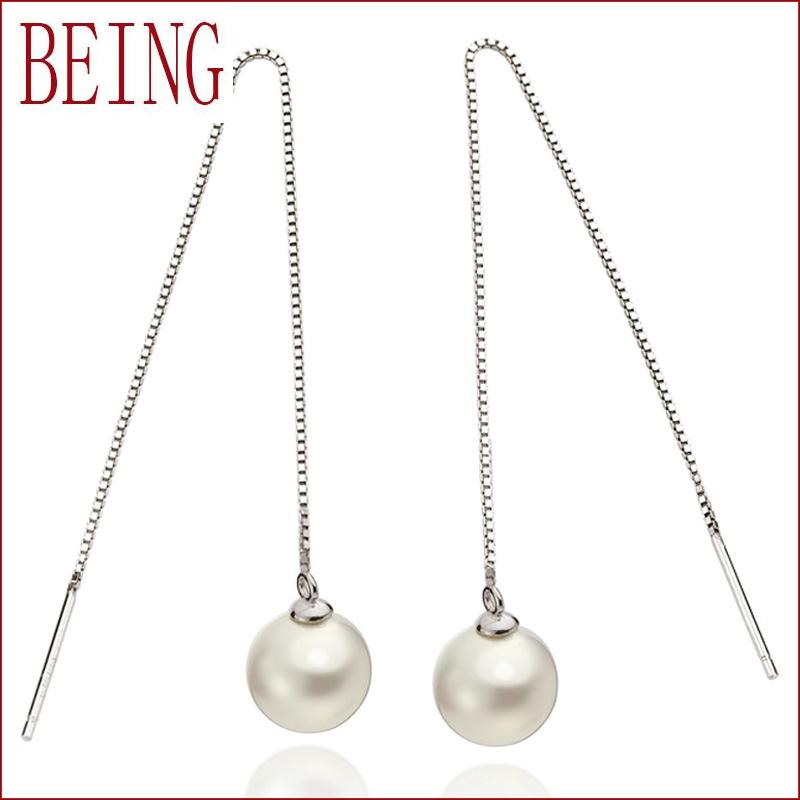 High quality analog silver pearl earrings fashion wild female long paragraph earrings piercing jewelry wholesale(China (Mainland))