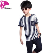 New Children's Clothing Sets For Boy Summer 2016 Cotton Striped T-shirts+Casual Pant Suits Fashion Casual Kids Clothes Tracksuit(China (Mainland))