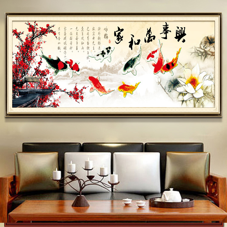 Гаджет  The latest 3D stitch Family Harmony New Living Room Series printing stitch nine fish Figure substantial new None Изготовление под заказ