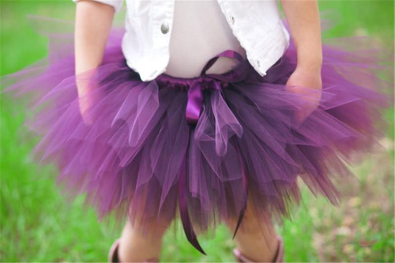 Скидки на Новые Baby Дети Девушки Юбки Милые День Рождения Пачки Юбки Фиолетовый, Серый, Многоцветный Пушистые Pettiskirt Принцесса Тюль юбка