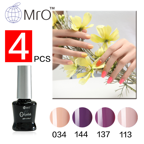 Mro 4 pieces/lot uv color gel nail kit Set for nail gel polish professional manicure set gel varnish with lamp vernis a ongle(China (Mainland))