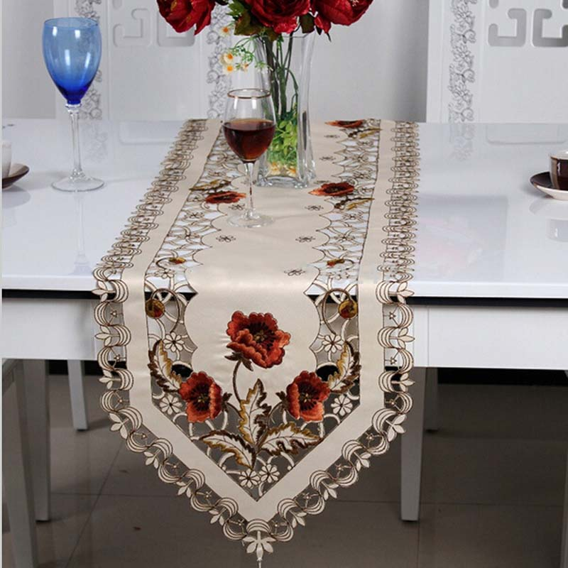 1pc Elegant Polyester Embroidery Table Runner Embroidered Floral Cutwork Table Cloth Linen Covers Runners H1323(China (Mainland))