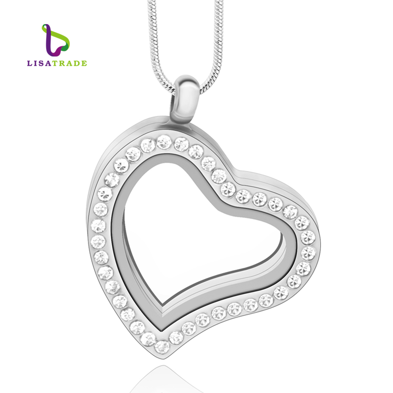 5PCS !! 30mm Silver Heart magnetic glass floating charm locket Zinc Alloy (with free chains)rhinestone pendant LSFL03-1*5(China (Mainland))